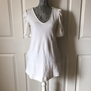 Deletta White Ruched Sleeve Mini Dress sz S